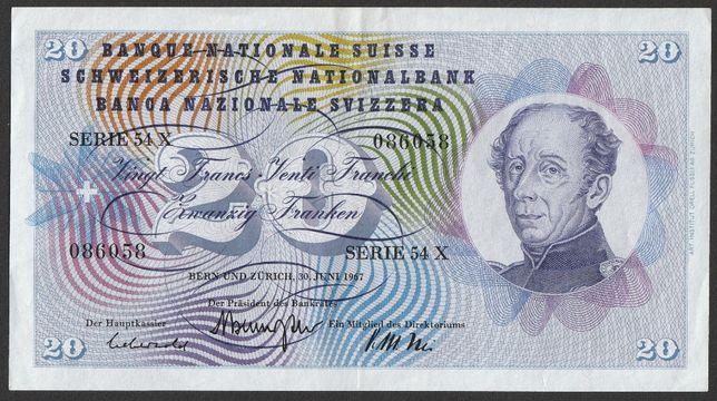 banknot Szwajcaria 20 franków 1967 - stan 2