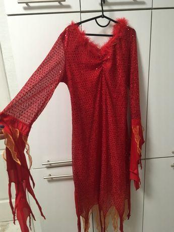 Костюм новогодний блестящее платье красное паетки с пухом