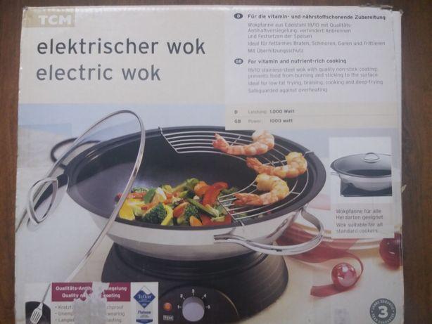 Електрична сковорідка Wok TCM Teflon 1000w покриття каструля,сковорода