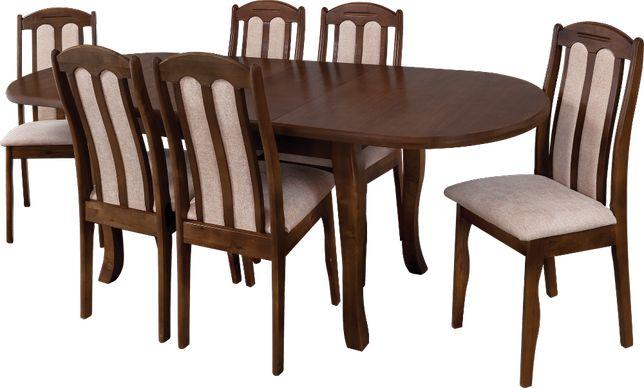 Komplet pokojowy stół rozkładany + krzesła pokojowe drewniane