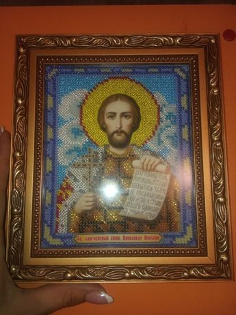 Икона бисером Александр Невский