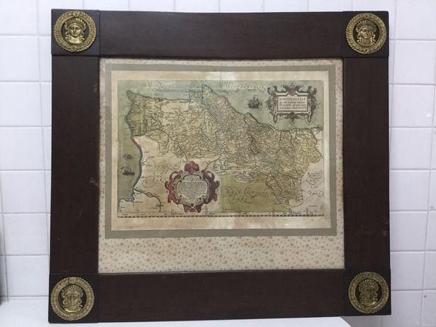 Quadro muito antigo.1 mapa carta de portugal. fernando alvaro secco.