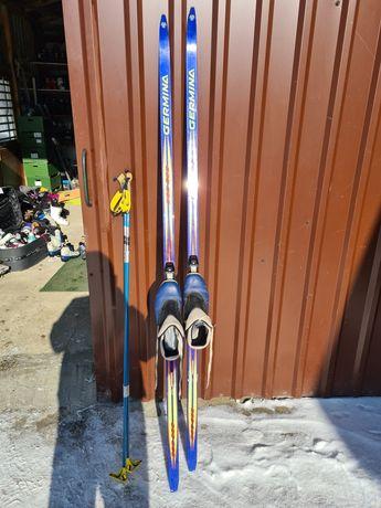 Narty biegowe begowki 205cm wiązanie sns profil buty nr45 kije komplet