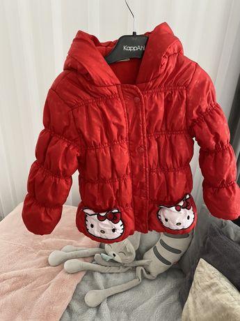 Śliczna zimowa czerwona kurteczka dziewczynka 3-4 latka Hello Kitty  D