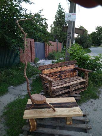 Скамейка-лавочка из массива дерева авторская мебель