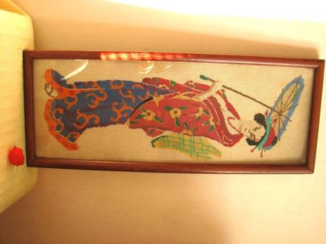 """Картина """"Японка"""" - вышивка нитью (старая, 1950-е). Большая: 60 х 25 см"""