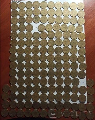 Лот из 157 монет Украины 25 копеек 1992,1994,1996 мелкий и крупный гур