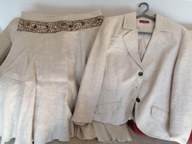 Conjunto linho saia e casaco Fátima verissimo