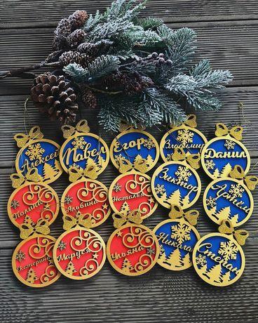 Новогодние украшения игрушки именные на елку елочные игрушки логотипом