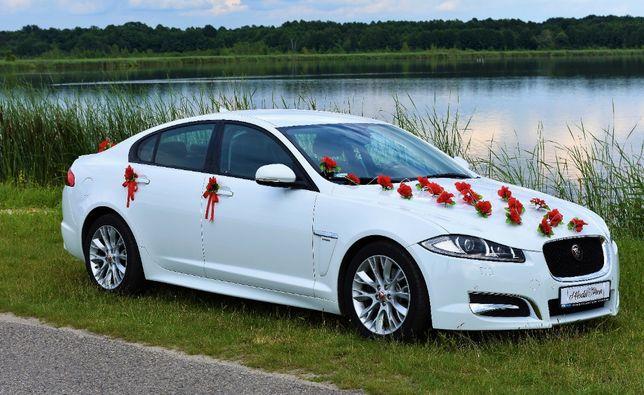Samochód na wesele ślub biały Jaguar XF R SPORT.Dekoracja auta w cenie