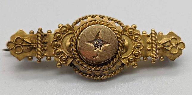 антикварная золотая брошь 15 карат