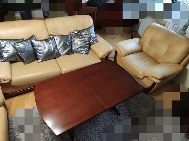 sofa rozkładana + dwa fotele + ława rozkładana