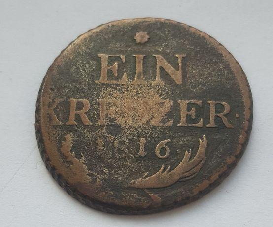 Монета 1 крейцер 1816 Австрия