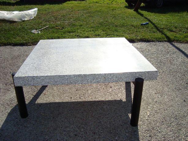stolik lastryko terrazzo+blat dębowy