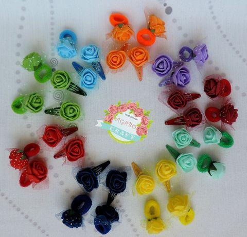 Różyczki piankowe spinki mini gumki do włosów róże