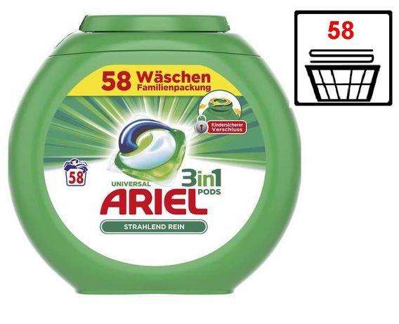 Капсулы для стирки Ariel Pods 3 в 1 универсальные 58 шт Германия