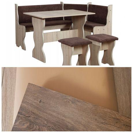 Narożnik kuchenny + stół + dwa taborety dąb lefkas i ekoskóra camel