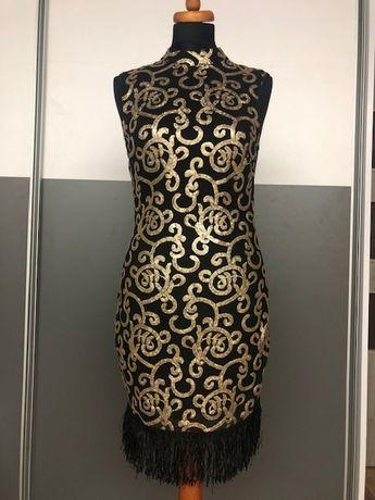 Sukienka z frędzlami czarno/złota cekinowa, rozmiar M