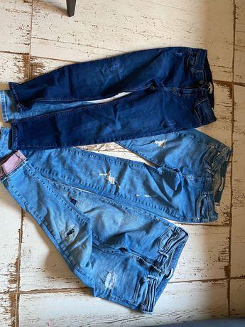 Spodnie jeansowe znanych marek 3 szt. Roz. 164 dziewczęce