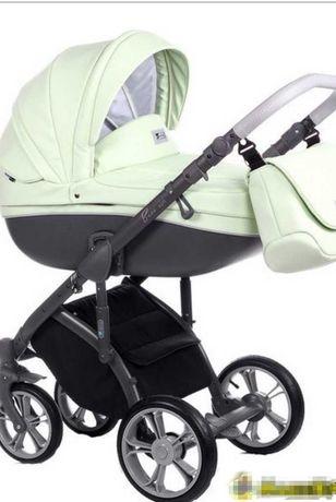 Экокожа Roan Bass Soft отличная удобная  коляска 2в1 мятного цвета