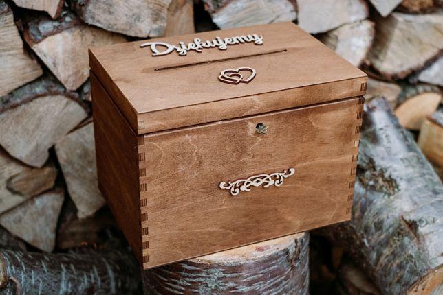 Rustykalne pudełko skrzynka na koperty z kluczykiem