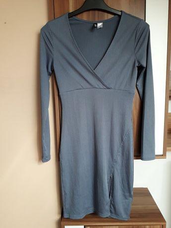 H&M 36 popiel seksowne rozciecie sukienka