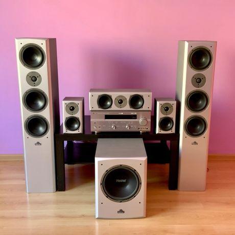 Kino domowe, amplituner Yamaha, głośniki i aktywny subwoofer Magnat