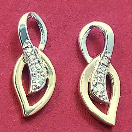 Śliczne złote kolczyki PRÓBA 585 złoto białe i żółte 1,44g