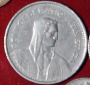 moneta 5 franków szwajcarskich 1973 r
