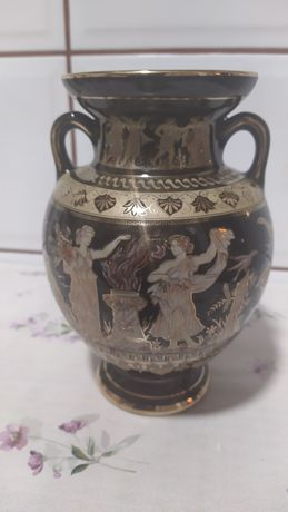 Czarno-złoty wazon grecki pozłacany 24K