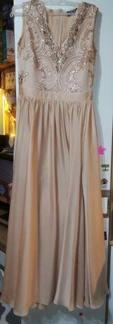Długa sukienka w kolorze złotym