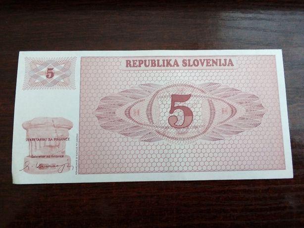 Banknot 5 tolarjew Słowenia specimen