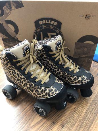 Wrotki KRF roller disco leopard unikatowe roz 36