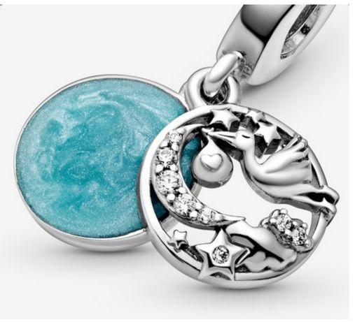 Charms do bransoletek Pandora, bocian z dzieckiem, srebro 925
