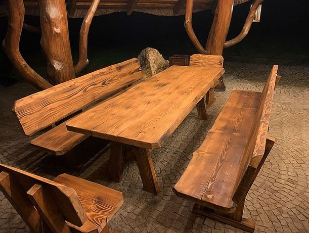 Góralskie Meble Ogrodowe z litego drewna bez żywicy