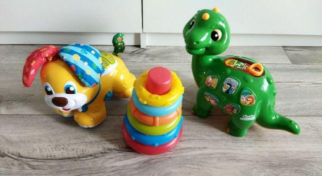 Zabawki interaktywne - piesek, dinozaur, wieża kształtów