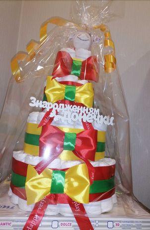 Оригинальный подарок, торт из памперсов