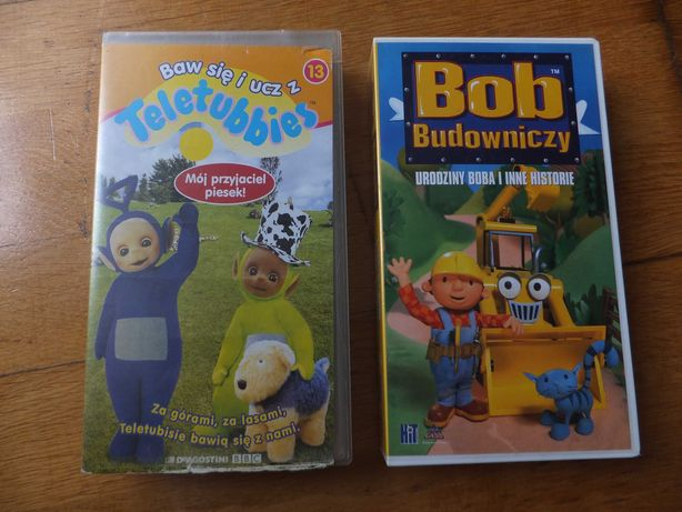 Kasety VHS Teletubisie i Bob Budowniczy