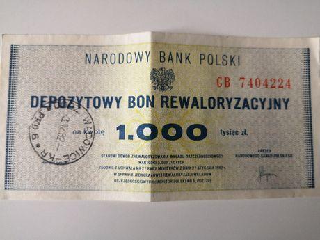 Depozytowy Bon Rewaloryzacyjny 1000zl
