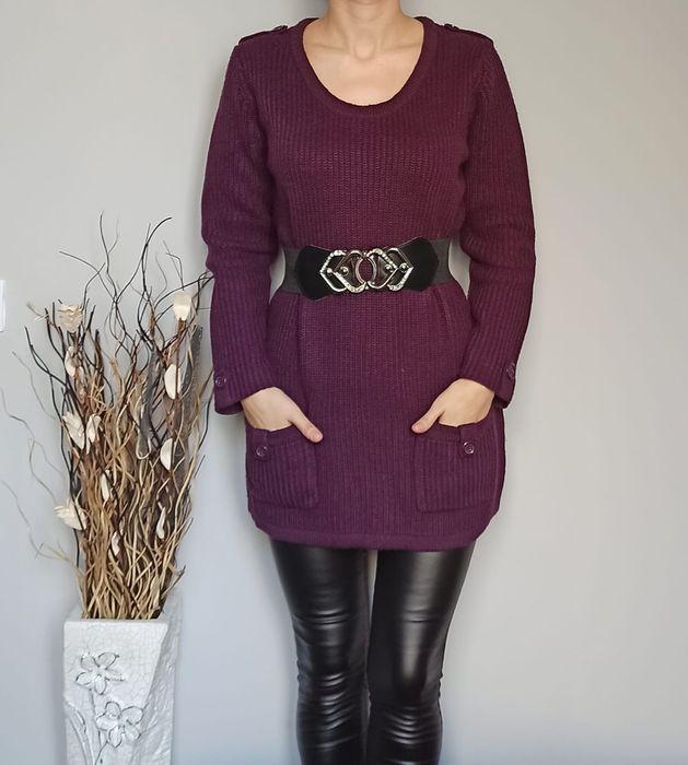 Śliwkowy ciepły gruby sweter akryl 42 Oleśnica - image 1