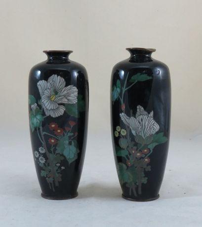 Par de Jarras esmalte Chinesas/Japonesas dec com flores; Altura-18cm;