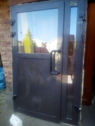 Drzwi aluminiowe dwuskrzydłowe stan idealny