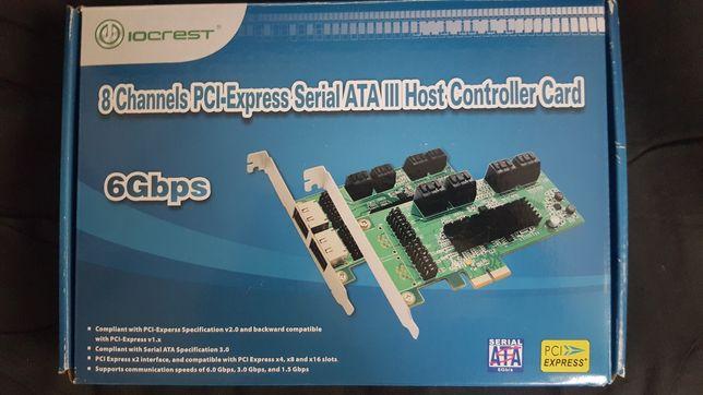 Placa Controladora IOCREST PCI-E de 8 portas SATA III (6 Gbps)
