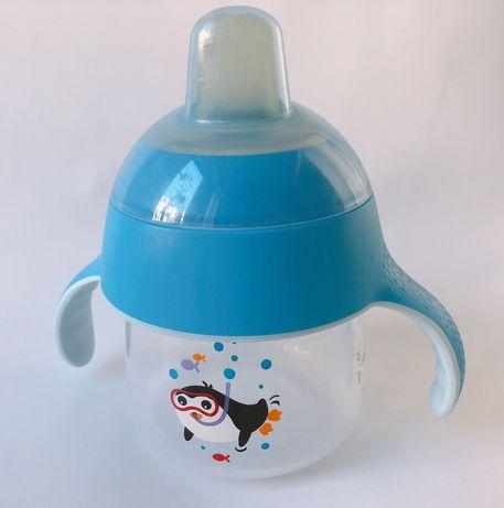 Чашка-непроливайка Avent с мягким носиком 6+, поилка детская
