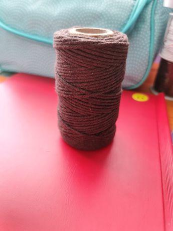 Bawełniany sznurek do makramy w kokorze ciemna czekolada 2mm 60m