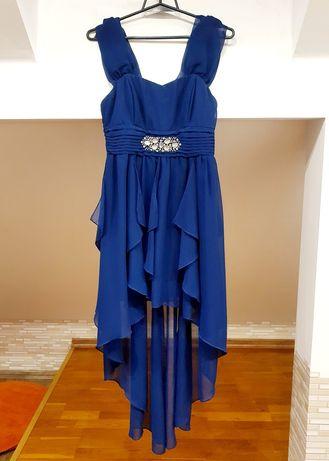 Sukienka na wesele, granat, rozmiar xs/s, asymetryczny dół