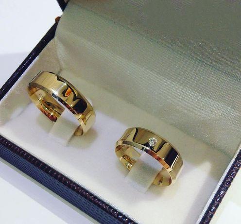 Wspaniała Zdobiona Para Złotych Obrączek Ślubnych