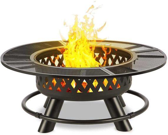 Braseiro com grelha de aço para carvão ou lenha