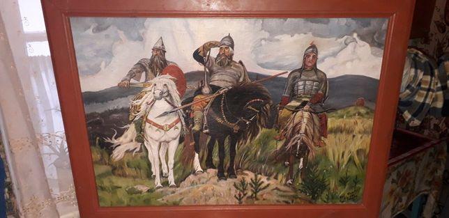 Картина три богатыря Васнецова (копія 1959 года)