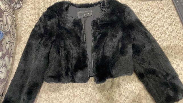 пиджак меховой черный